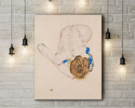 Egon Schiele: Nude with Blue Stockings, Bending Forward. Fine Art Canvas.